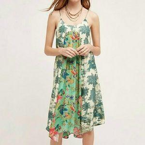 Anthropologie Maeve Santee dress green tropical SM